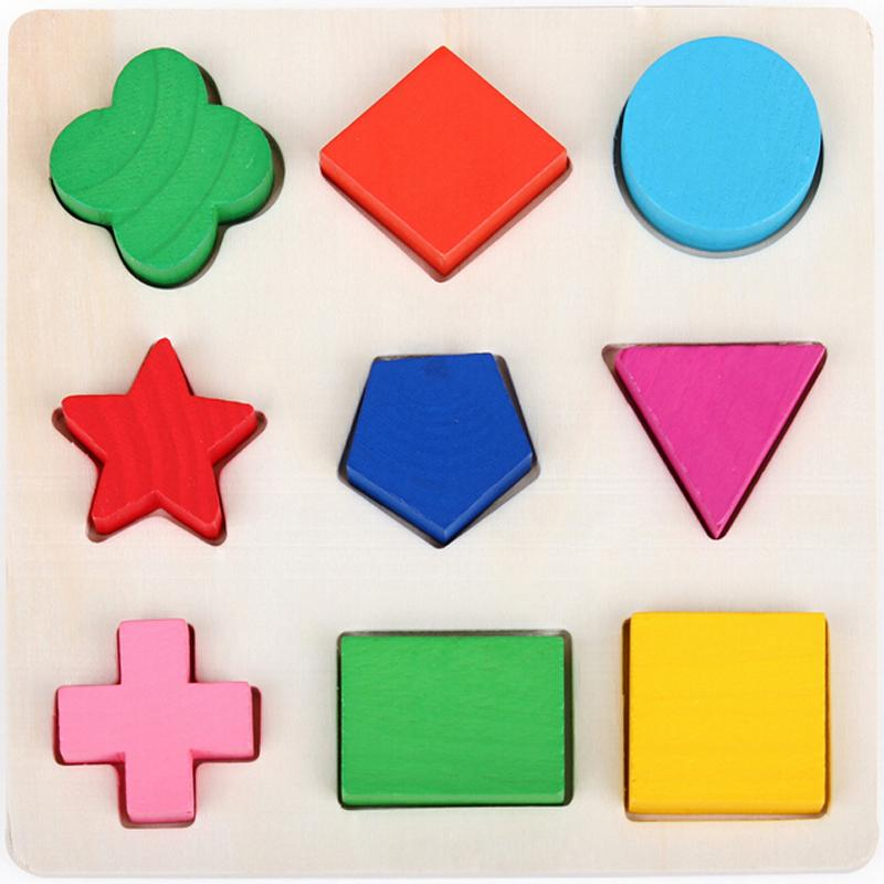 2015 Montessori Preschool educational toys wooden toys children s toys three dimensional jigsaw puzzle of geometric