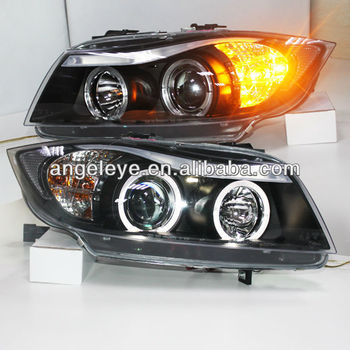 pour bmw e90 318i 320i 325i angel eyes led phare bi xenon projecteur objectif 2005 2010 ano sn. Black Bedroom Furniture Sets. Home Design Ideas