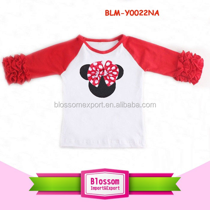 Wholesale Children's Boutique Clothing Girls Mini Mouse Icing Raglan Shirt Valentines Raglan Ruffle Kid Clothes