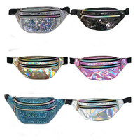 Laser holography waist bag printing logo belt outdoor Sports waterproof custom fanny pack