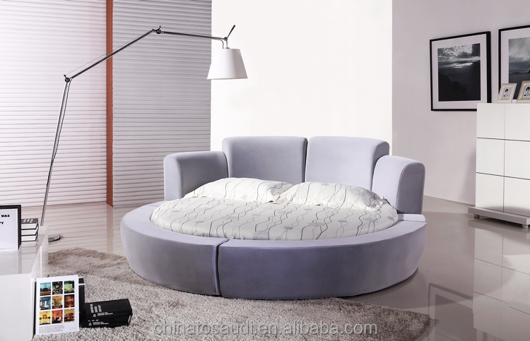 Q Fancy Genuine Leather Round Bed With Free Mattress Buy Bed - Black leather round bed
