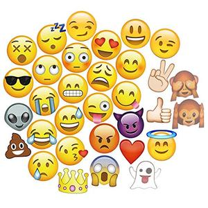 YWLL DIY Pose Sign Emoji Party Decoration Supplies 33 Printed Pieces Wooden Sticks Big Size Smiley Face Emoji Photo Booth Props