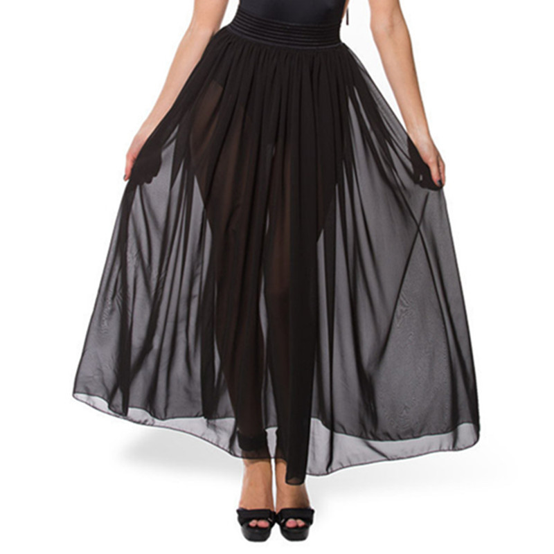 Get Quotations · Women Gauze See Through Mesh Tulle Skirt 2015 Summer Style  Long Elastic High Waist Tutu Skirt b9ee08871