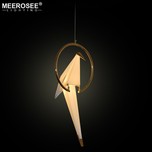 MEEROSEE Fancy PVC Materials Birds LED Pendant Light Golden Iron Hanging Lamp for Restaurant Cafe Decorative Lighting MD85565