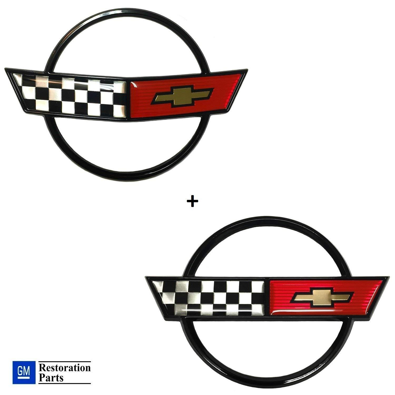 91 through 96 Corvettes C4 Corvette Gas Fuel Lid Emblem Cross Flag Official GM Restoration Part Fits