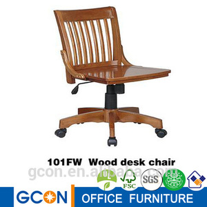 Classical armless high light wood swivel desk chair