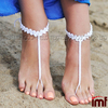 White Bridal Beach wedding Crochet,Wedding Barefoot Sandals