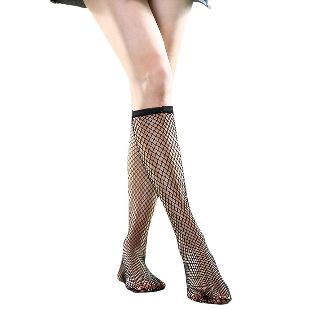 dd91525259cd59 Get Quotations · SEADEAR 5 pairs Women's Stylish Black Lace Vintage Sexy Fishnet  Socks Fashion Hollow Out Fishnet Knee