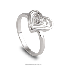 fashion superposition hollow heart style silver jewellery 925 sterling american diamond rings