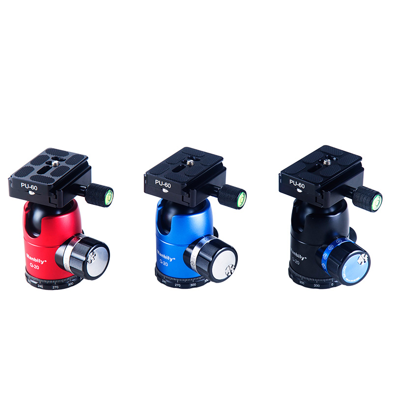 Manbily Q-20 aluminum alloy Camera 360 degree ball head for cameras By CNC machine