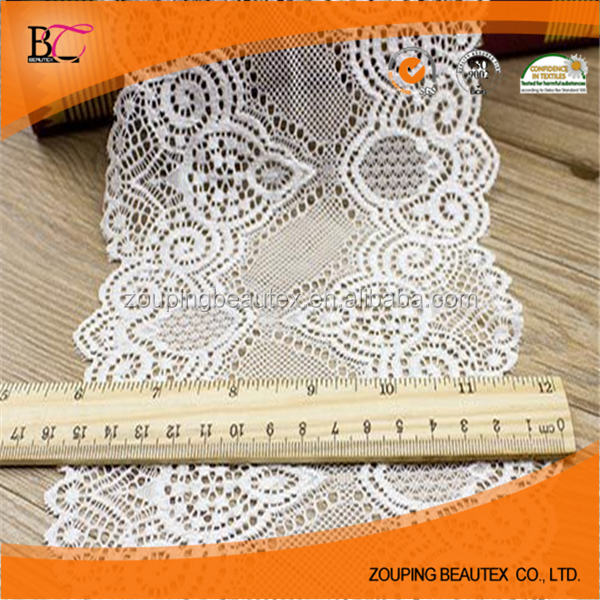 High quality decorative elastic wide lace trim for bra in stock