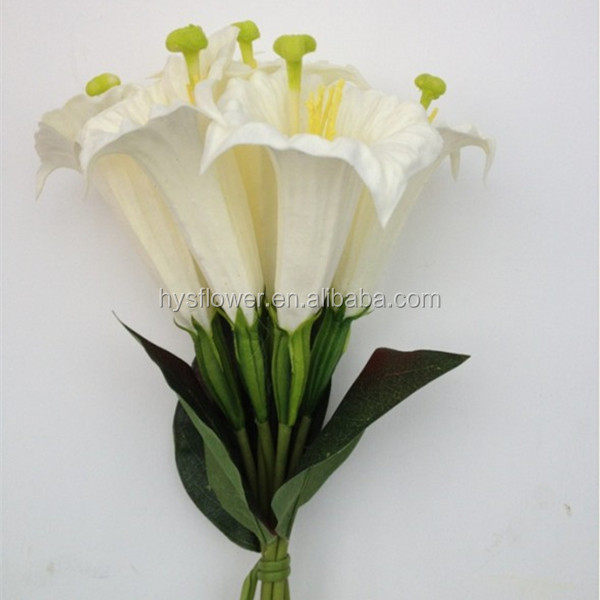 Artificial Flower Bouquet Pu Fake Datura Bouquet With 6 Head For ...