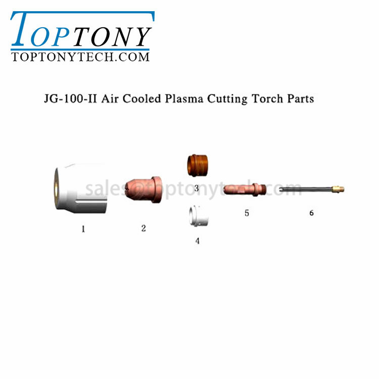 JG-100 Air Cooled Plasma Cutting NOZZLE ELECTRODE SHIELD