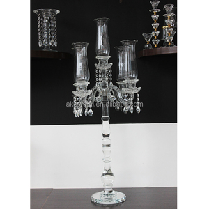 Hot fashion beautiful 5 arms tall candle holder crystal candelabra centerpieces for wedding