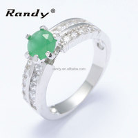 Fashion Jewellery 925 Sterling Silver Emerald Zircon Ring Wholesale