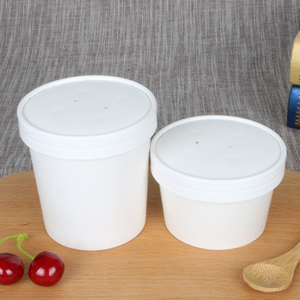 Disposable Hot Soup Bowls Custom Printed Kraft Paper Soup Cups With Lid