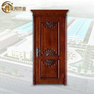 Africa market single leaf designs carving door sound proof interior exterior use front gate solid ash wood panel
