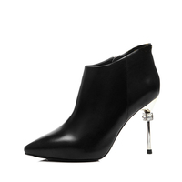 Sexy leather ankle ladies boot shoes stilletoes boots for women
