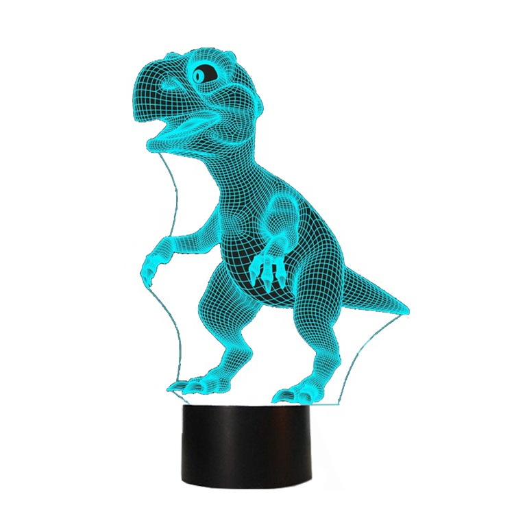 Dinosaur 3D Night <strong>Light</strong> Touch Table Desk Lamps with 7 <strong>Color</strong> Changing <strong>Lights</strong> Acrylic Flat and ABS Base