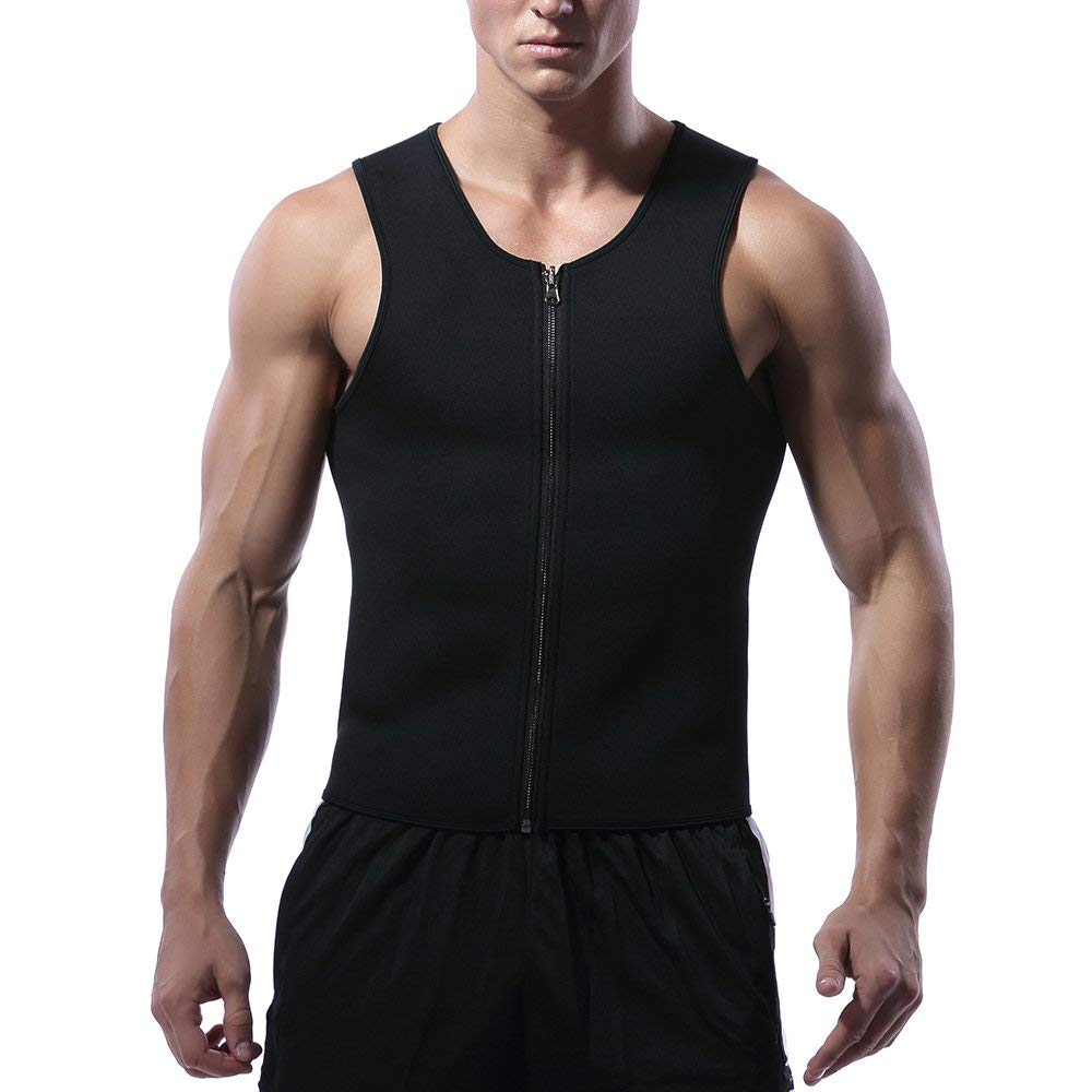 efb6ed75efb66 Get Quotations · DILI Mens Sweat Waist Trainer Vest with Zipper for Weight  Loss