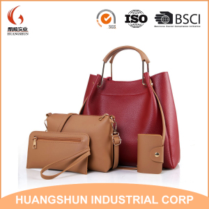 HOT SELL Fashion Cheap Price Lady Handbag Women Bag sets High Quality PU Handbags 4 Pcs in 1 Set