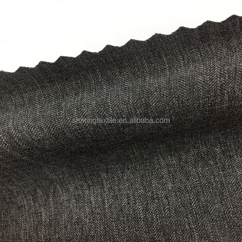 T400 Weft Stretch Brushed Polyester Two Tones Cationic Imitation Cashmere Wool Like Herringbone Jacquard Fabric For Pants