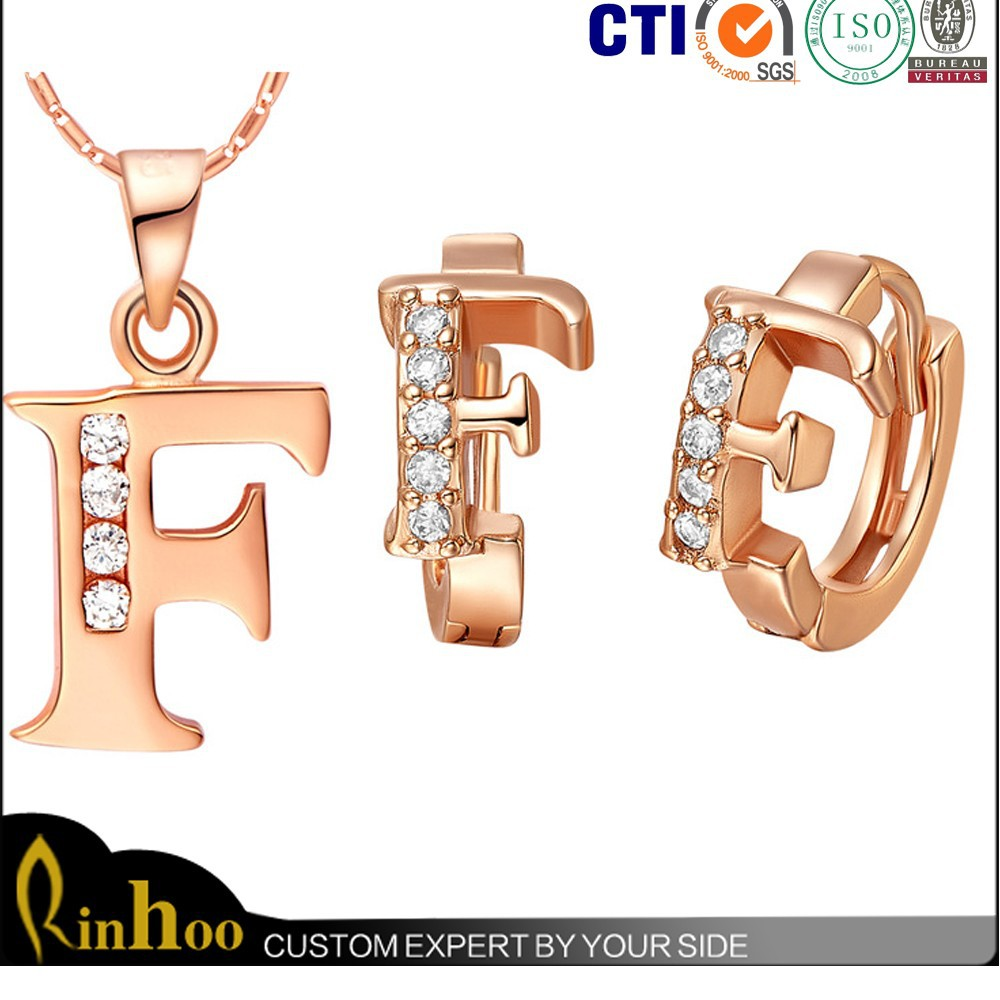 18K rose gold plated letter F pendant necklace earring fashion jewelry set 26 letters custom