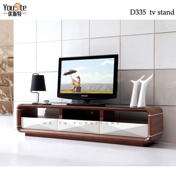 Walnut wood glass tv table stand plasma tv glass table for Table tv design