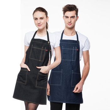 Denim apron kitchen cooking men and women restaurant coffee shop uniforms overall customized print logo