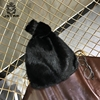 2018 Beautiful Black Bag 100% Real Mink Fur Hand Bags