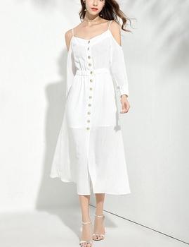 b0a732f2f9c92 Autumn Design Women Off Shoulder Long Sleeves White Linen Dress ...