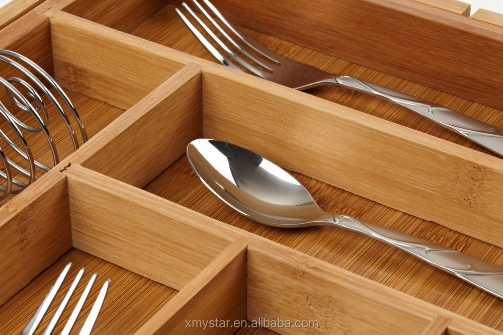 natural expandable bamboo cutlery divider expandale bamboo cutlery tray