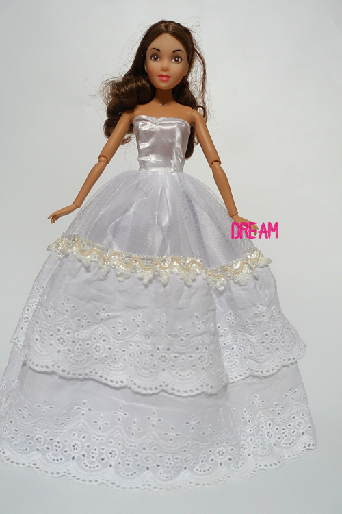 2015NEW 1 PCS Handmade White Simple Princess Party Gown Dresses Wedding clothes Doll Accessories For Barbie