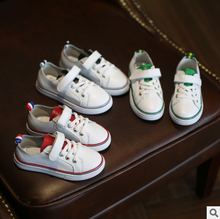 New arrival children real leather fashion kids white shoes