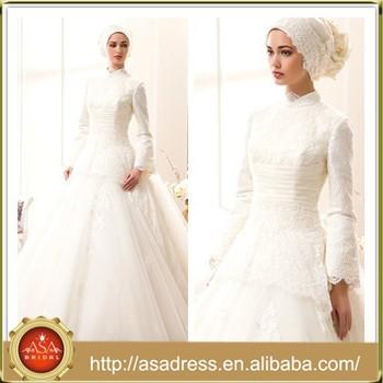 Trouwjurk Met Kraag.Msl1008 Eletgant Witte Arabische Hijab Lange Mouw Hoge Kraag Kanten