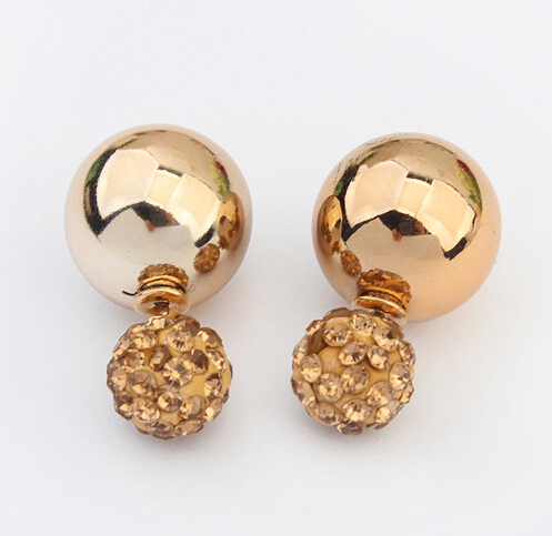 Get Quotations Star Jewerly Nice Gold Sliver Korean Crystal Two Ball Pearls Stud Earrings Fashion Double Pearl Women