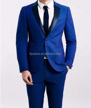 Custom Made Groomsmen Notch Black Lapel Groom Tuxedos Royal Blue