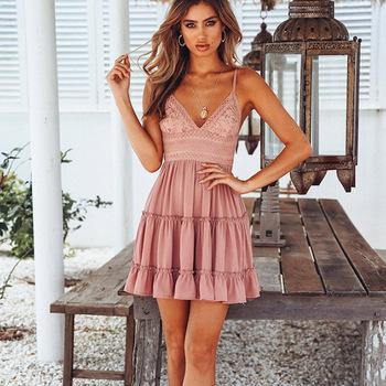 fa3d73f1b45 Summer Women Lace Dress Sexy Backless V-neck Beach Dress 2018 Fashion  Sleeveless Spaghetti Strap
