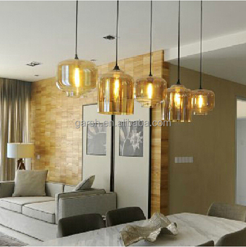 Edison Bulb Amber Glass Comtemporary Pendant Lamps