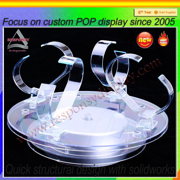 Clear acrylic circle shape custom wach countertop display stand