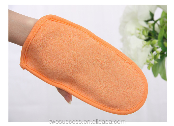 OEM High quality double-deck plant fiber Exfoliating Mitt Body Scrub shower Bath Glove