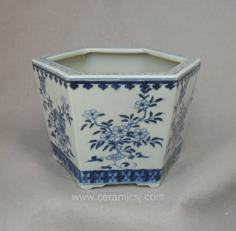 Blue And White Hexagon Flower Pot Wrysz04 Chinese Ceramic Pots Product On Alibaba