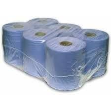 24 (4 X 6 PACK) ROLL BLUE PAPER WIPE CENTRE FEED TOWEL 2 PLY 150M 2 PLY EMBOSSED - GIVES BETTER ABSORBENCY by MHS