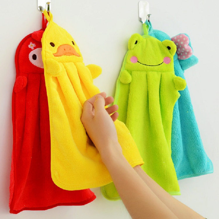 Cute Animal Microfiber Children Cartoon Absorbent Hand Dry Towel Lovely Towel Green Elephant