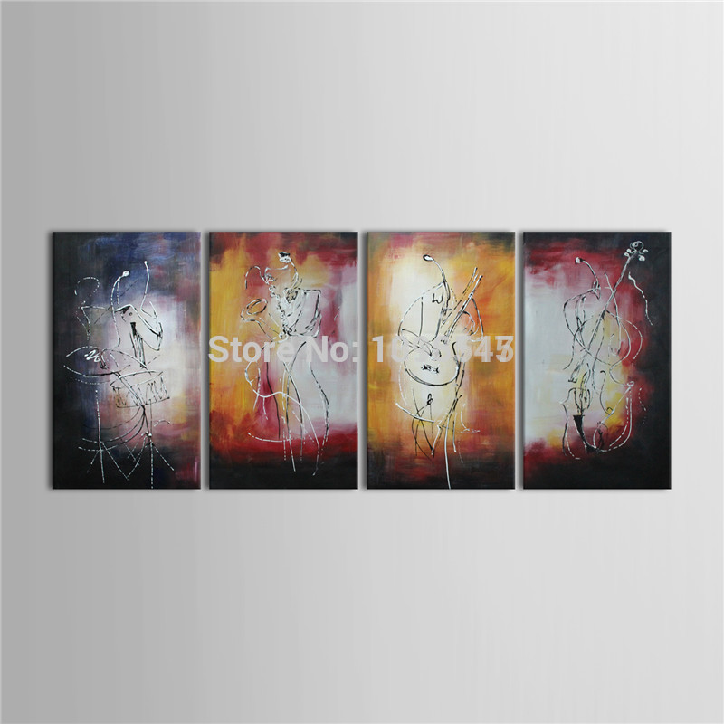 Modern Home Decoration 4 Piece Canvas Art Set Abstract People Playing The Violin Oil Painting Free shipping