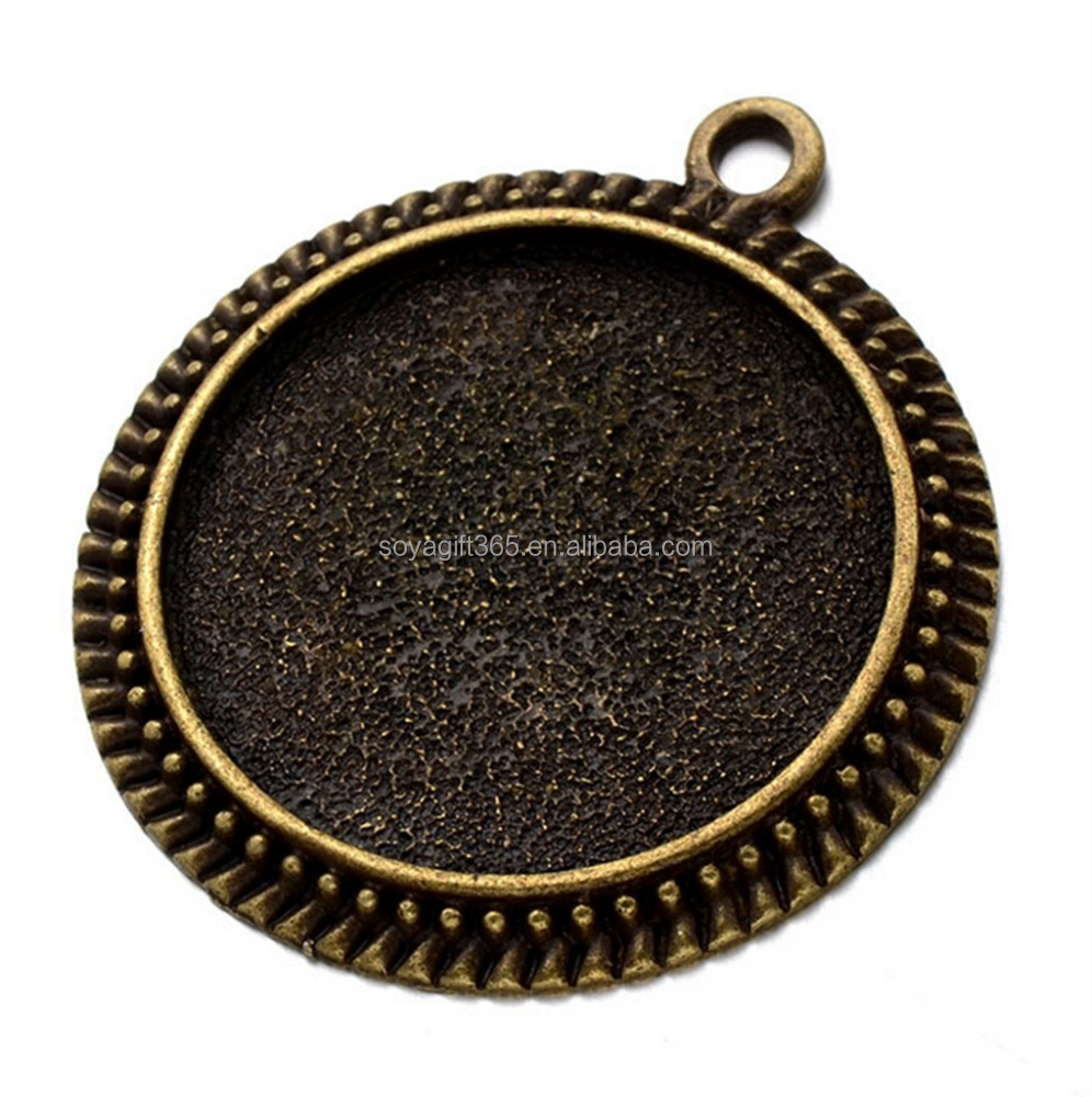 50pcs/lot 43/30mm Bronze Silver-plated Pendant Trays Round Blank Bezel