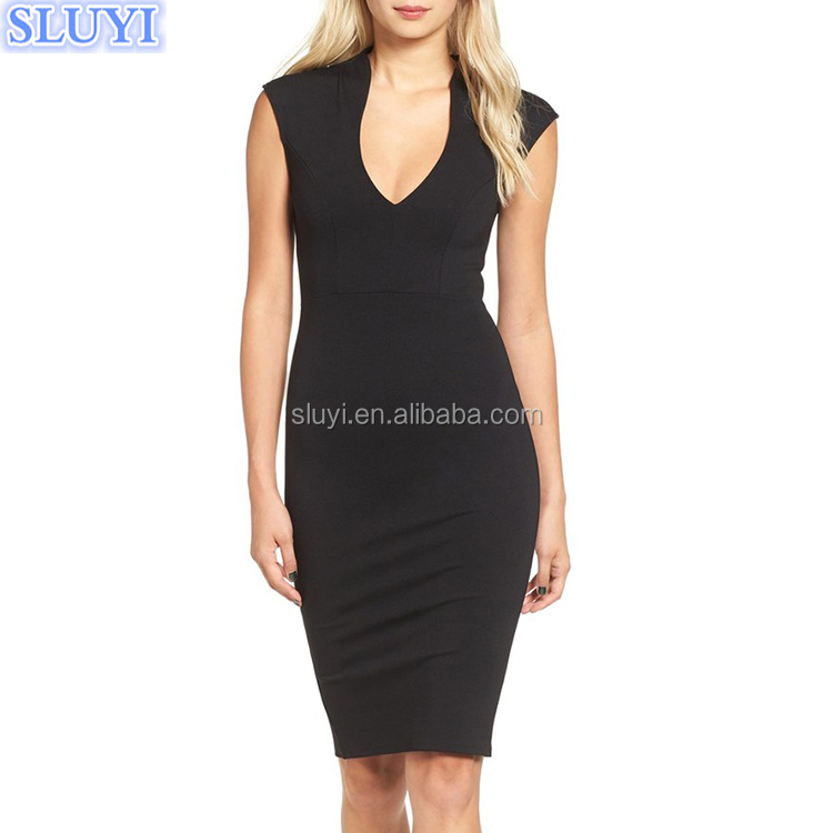 Latest new design sexy v neck cap sleeve back zipper bodycon pencil dress career dresses modern office ladies formal office wear