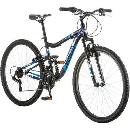 """27.5"""" Mongoose Ledge 2.1 Men's Bike for a Path, Trail & Mountains, Deep Navy, Aluminum Full Suspension Frame, Twist Shifters Through 21 Speeds"""