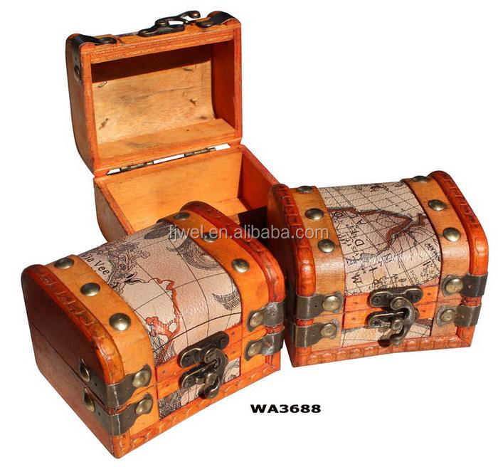 antique worldmap small wooden treasure chest box