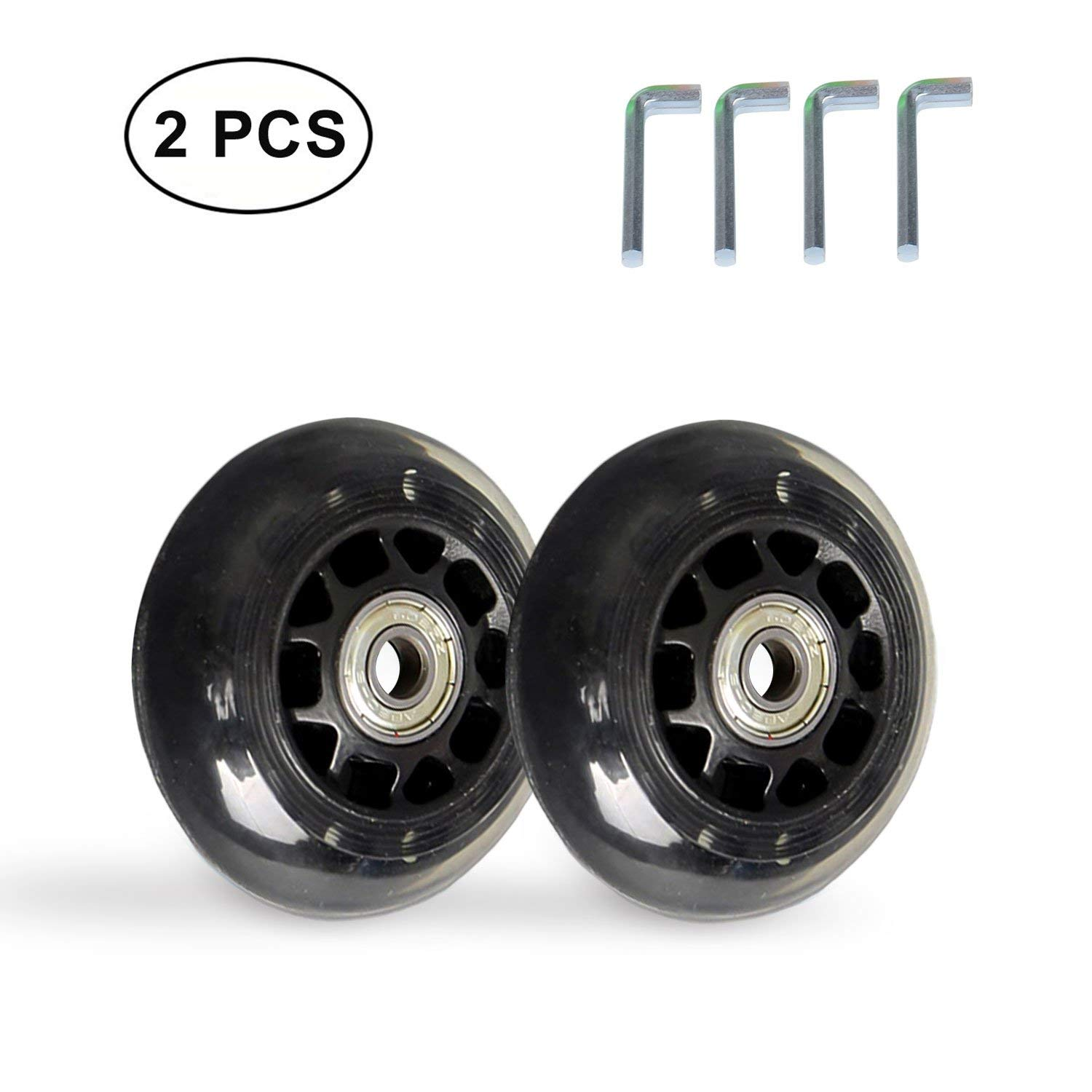 B.LeekS RollerbladeSkate Wheel Replacements, Kick Scooter Replacement Wheels with Bearings, One Set of (2) Wheels, Multiple Sizes & Colors with LED Illuminating Lights